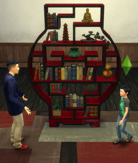 Simsworkshop: Bookshelf of the East from South Sea Imports by BigUglyHag