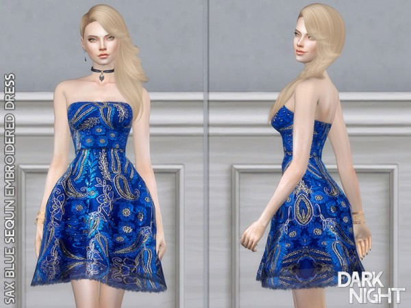 The Sims Resource: Sax Blue Sequin Embroidered Dress by DarkNighTt