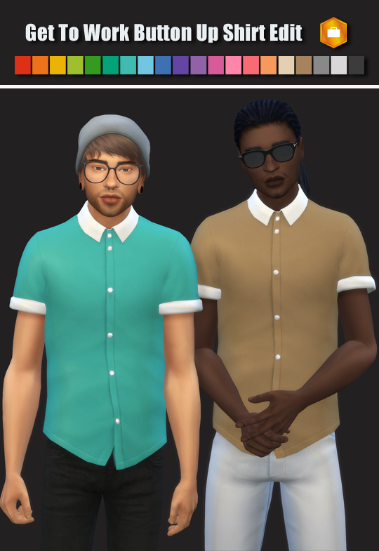 Simsworkshop: GTW Button Up Male Shirt Edit by maimouth