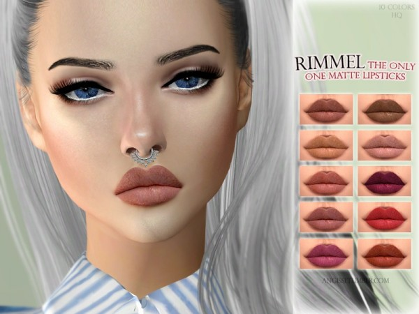 The Sims Resource: Rimmel the only one matte lipsticks by ANGISSI