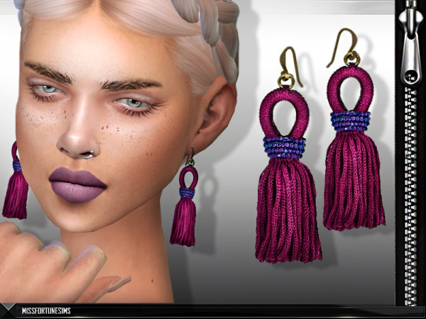 The Sims Resource: Lacey Earrings by Miss Fortune Sims