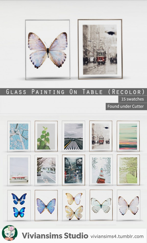 Vivian Sims: Glass painting on table