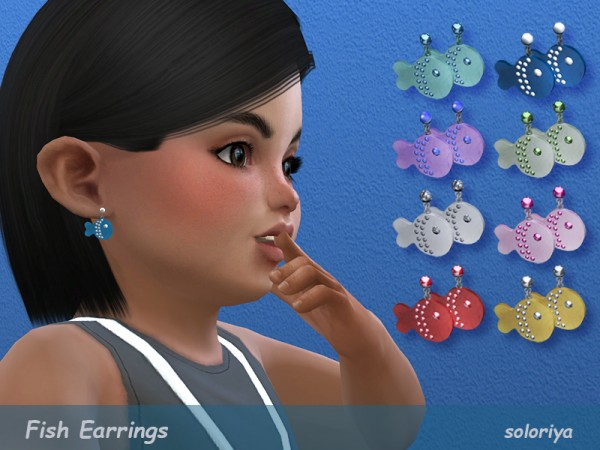 The Sims Resource: Fish Earrings for Toddlers by soloriya