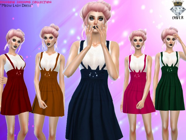 The Sims Resource: Meow Lady Dress by MadameChvlr