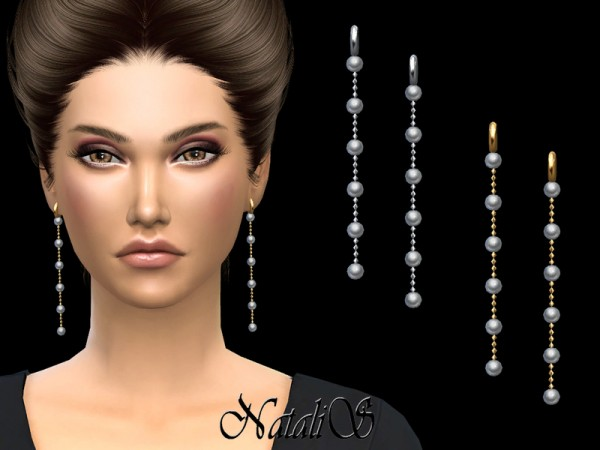 The Sims Resource: Long Pearl Chain Drop Earrings by NataliS