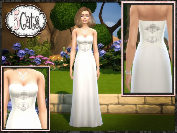 The Sims Resource Mercury Strapless Wedding Gown By
