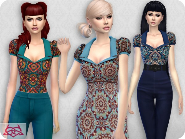The Sims Resource: Matilde blouse recolored 3 by Colores Urbanos