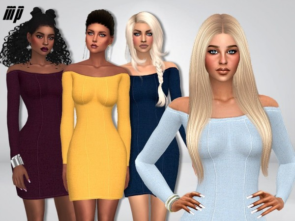 The Sims Resource: Off Shoulder Flair Dress by MartyP