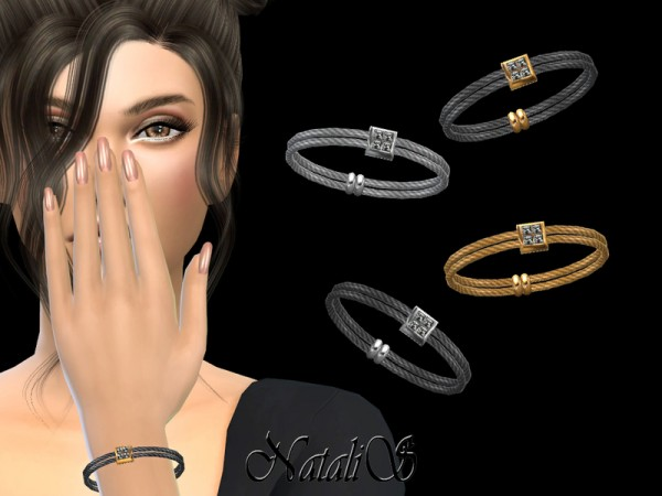 The Sims Resource: Double Cable Bracelet Crystal Pendant by NataliS