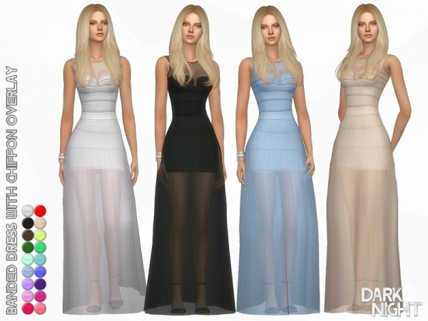 The Sims Resource: Banded Dress with Chiffon Overlay by DarkNighTt