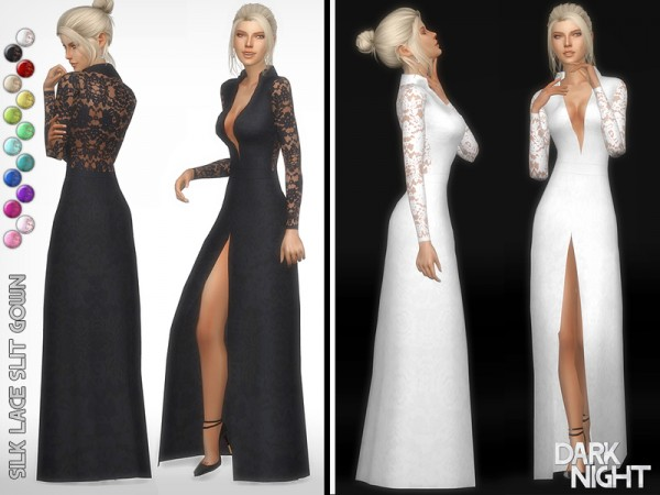 The Sims Resource: Silk Lace Slit Gown by DarkNighTt