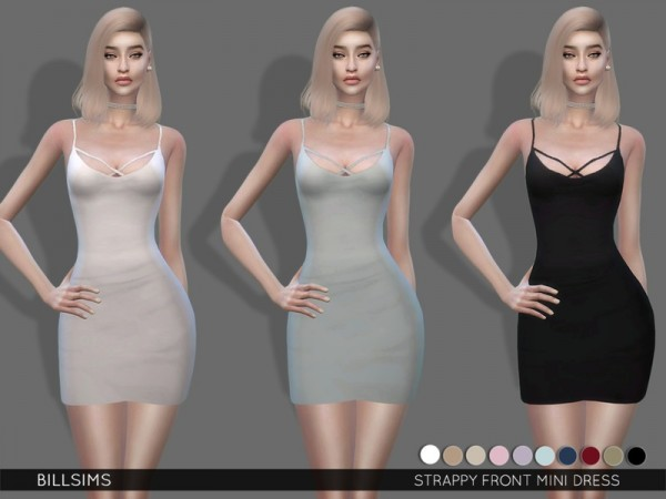 The Sims Resource: Strappy Front Mini Dress by BillSims