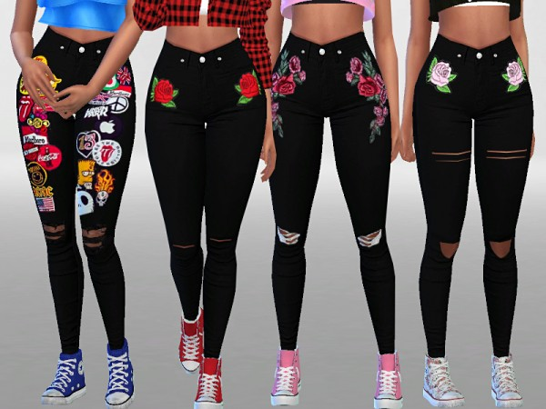 The Sims Resource: Black Denim pants by Pinkzombiecupcakes