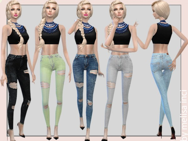 The Sims Resource: Ripped Skinny Jeans by melisa inci