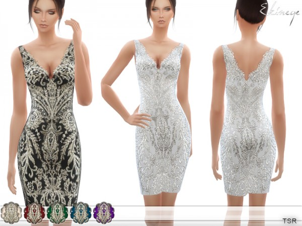 The Sims Resource: Embroidered Short Dress by ekinege