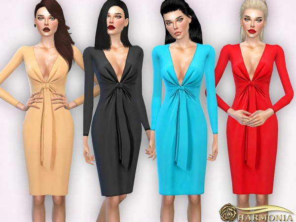 The Sims Resource: Ruched Knotted front Stretch knit Dress by Harmonia