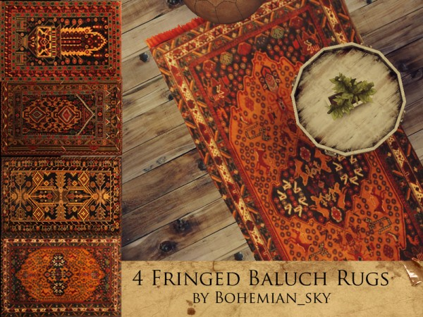 The Sims Resource: 4 Fringed Baluch Rugs byBohemian sky