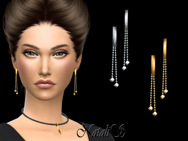 The Sims Resource: Bar Drop Earrings by NataliS
