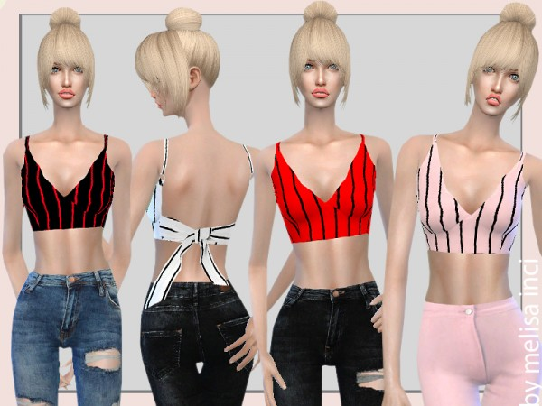 The Sims Resource: Striped Bow Tie Open Back Crop Tops by melisa inci