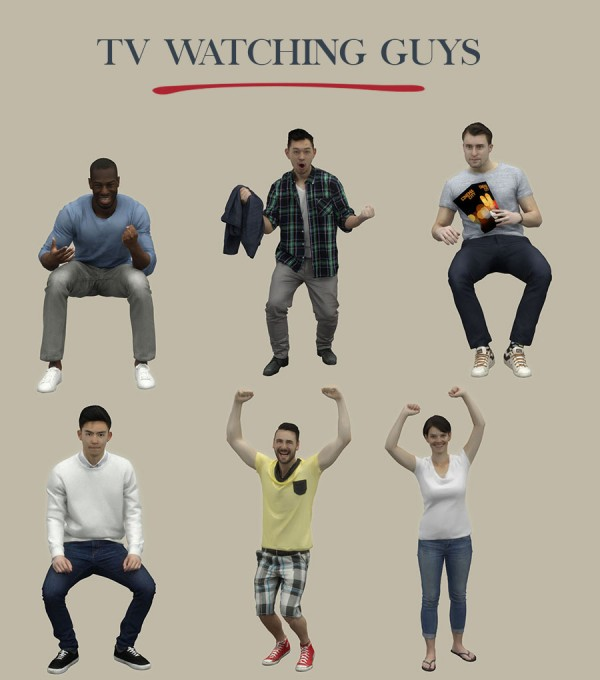 Leo 4 Sims: TV Watching Guys
