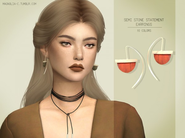 The Sims Resource: Semi Stone Statement Earrings by magnolia c
