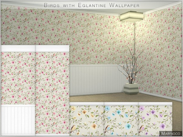 The Sims Resource: Birds with Eglantine Wallpaper by Marinoco
