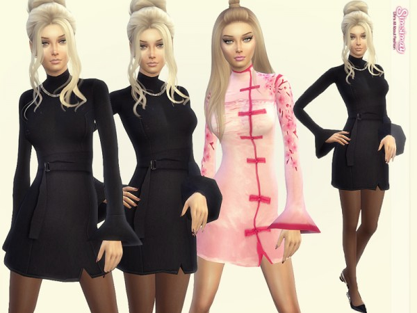 The Sims Resource: Elegant Flounce Sleeve Dress by Simsimay