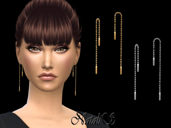 The Sims Resource: Simple Chain Drop Earrings by NataliS