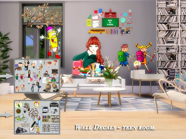 The Sims Resource: Wall Decals teenroom set by Danuta720