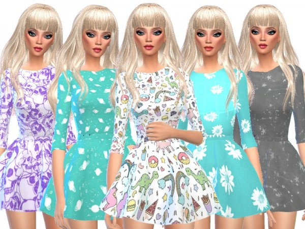 The Sims Resource: Kawaii Long Sleeved Mini Dresses by Wicked Kittie