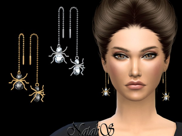 The Sims Resource: Spider Chain Drop Earrings by NataliS