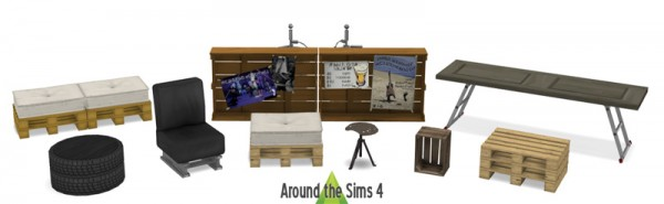 Around The Sims 4: Recup Living reused and pallet furniture