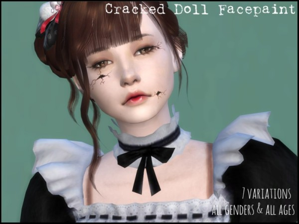 The Sims Resource: Cracked Doll Facepaint by erurid