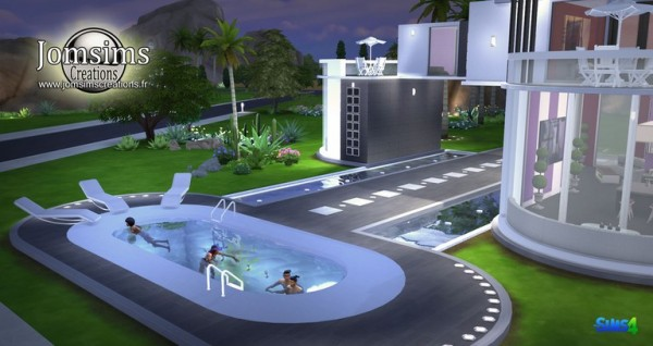 Jom sims creations rounded swimming pool house sims 4 for Sims 4 piscine a debordement