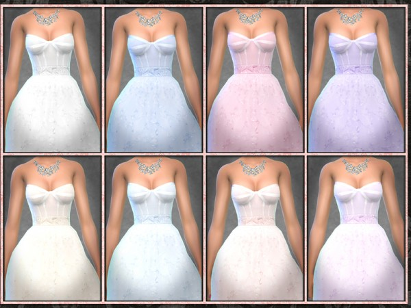 The Sims Resource: Floral Strapless Corset Wedding Gown by Five5Cats