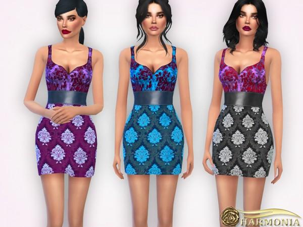 The Sims Resource: Floral print Silk jacquard dress by Harmonia