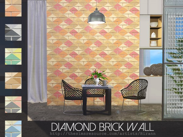 The Sims Resource: Diamond Brick Wall by Rirann