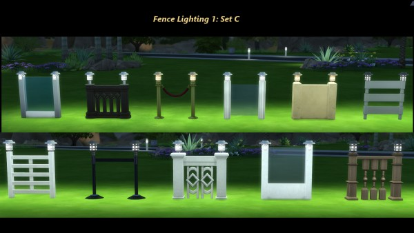 Mod The Sims: Light Me Up  Fence, Gate and Garden Lights by Snowhaze