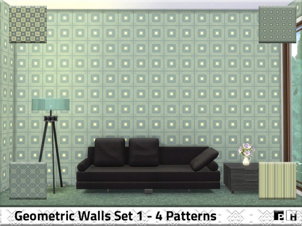 The Sims Resource: Geometric Walls Set 1 by Pinkfizzzzz ... Sims 1 Walls