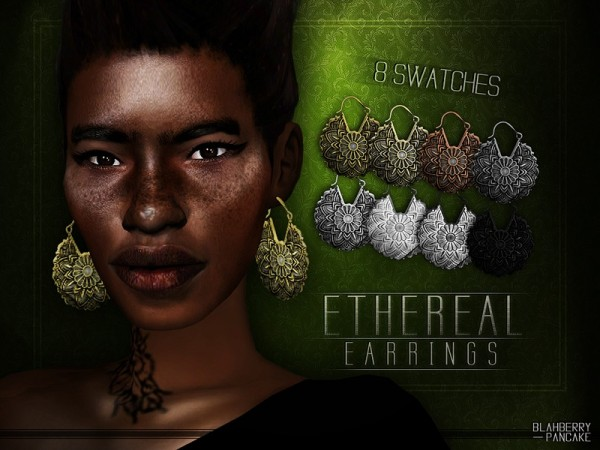 The Sims Resource: Ethereal Earrings by Blahberry Pancake