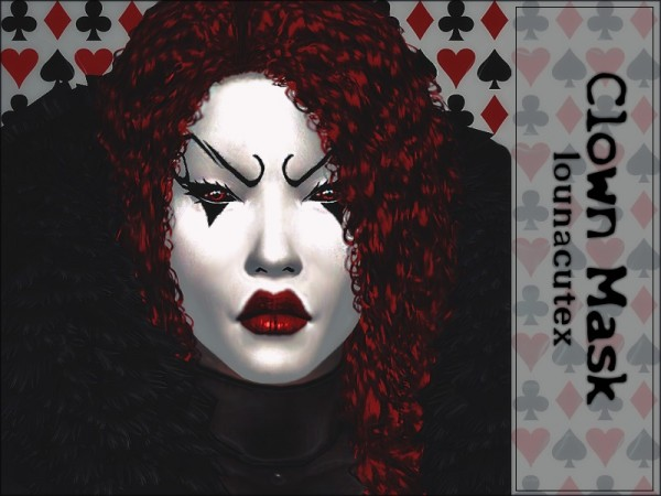 The Sims Resource: Horror Clown Mask Tattoo   Lounacutex by Louna