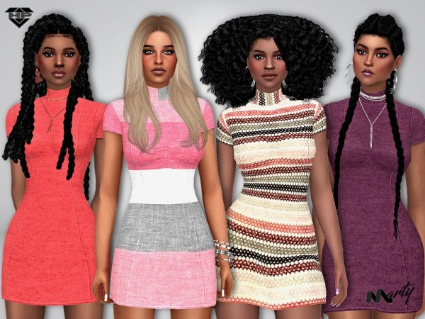 The Sims Resource: Cool Autumn Mini Dress by MaryP
