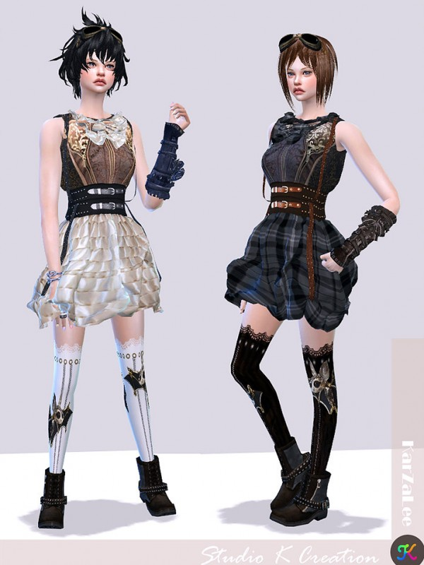 Studio K Creation: Steampunk outfit set 1 • Sims 4 Downloads