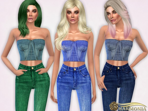 The Sims Resource: Strapless Denim Bustier Top by Harmonia