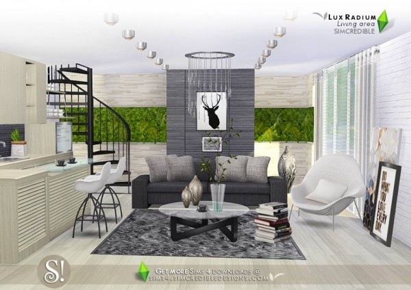 Simcredible designs lux radium livingroom and kitche open for Living room sims 4