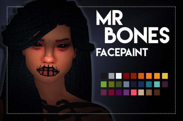 Simsworkshop: Mr Bones Facepaint by Weepingsimmer