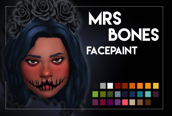 Simsworkshop: Mrs Bones Facepaint by Weepingsimmer