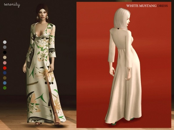 The Sims Resource: White Mustang Dress by serenity cc