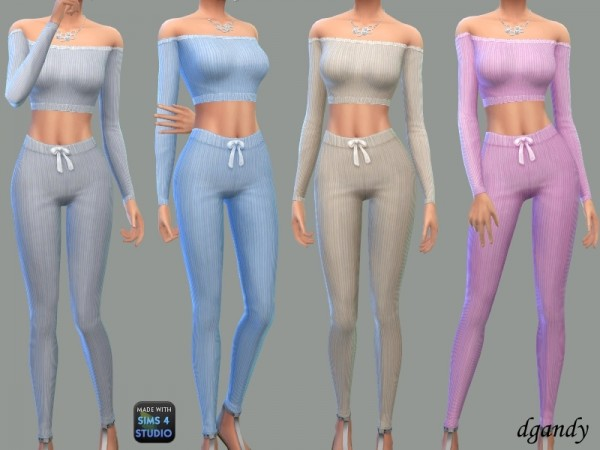 The Sims Resource: Ribbed Knit Lounge Set by dgandy