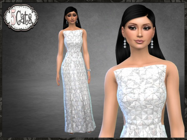 The Sims Resource: Strapless Block Dress by Five5Cats